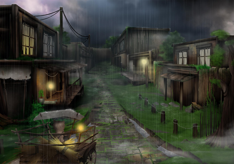environment design : rue d'un village pluvieux, avec une cariolle qui éclaire le passage