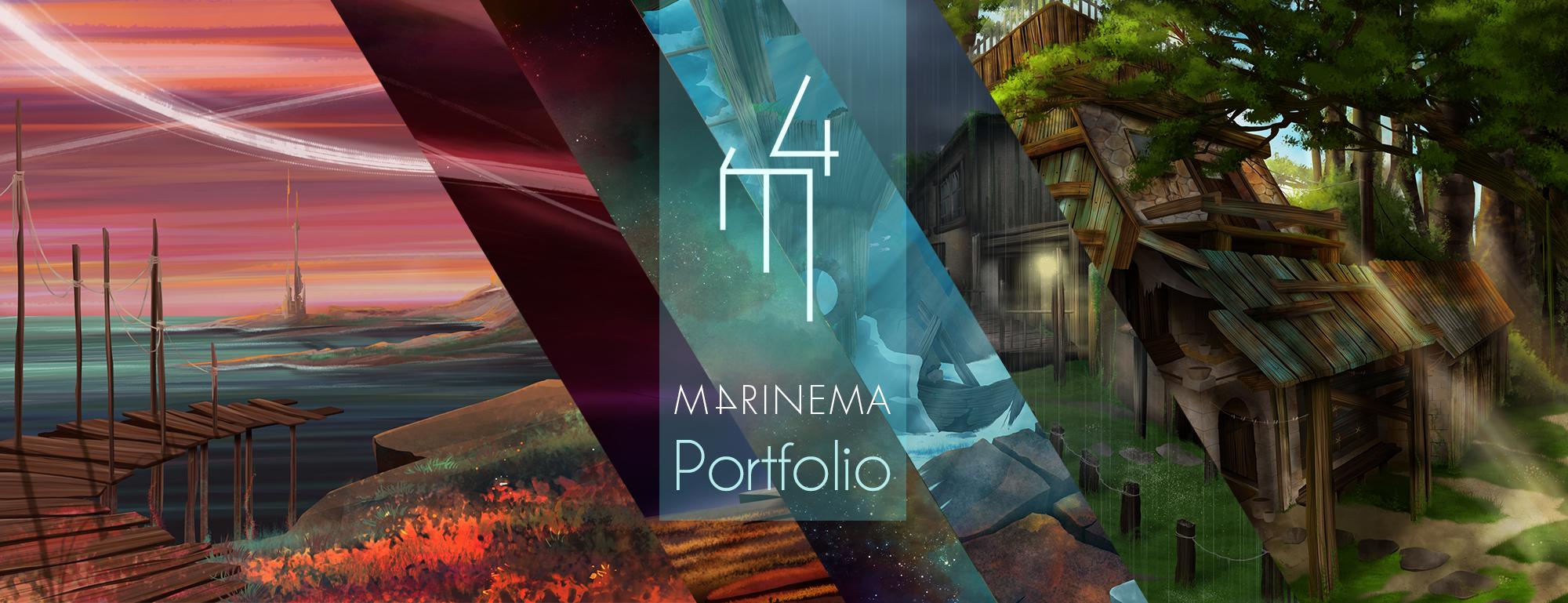 compilation de plusieurs travaux en une image avec le logo M4rinema au centre
