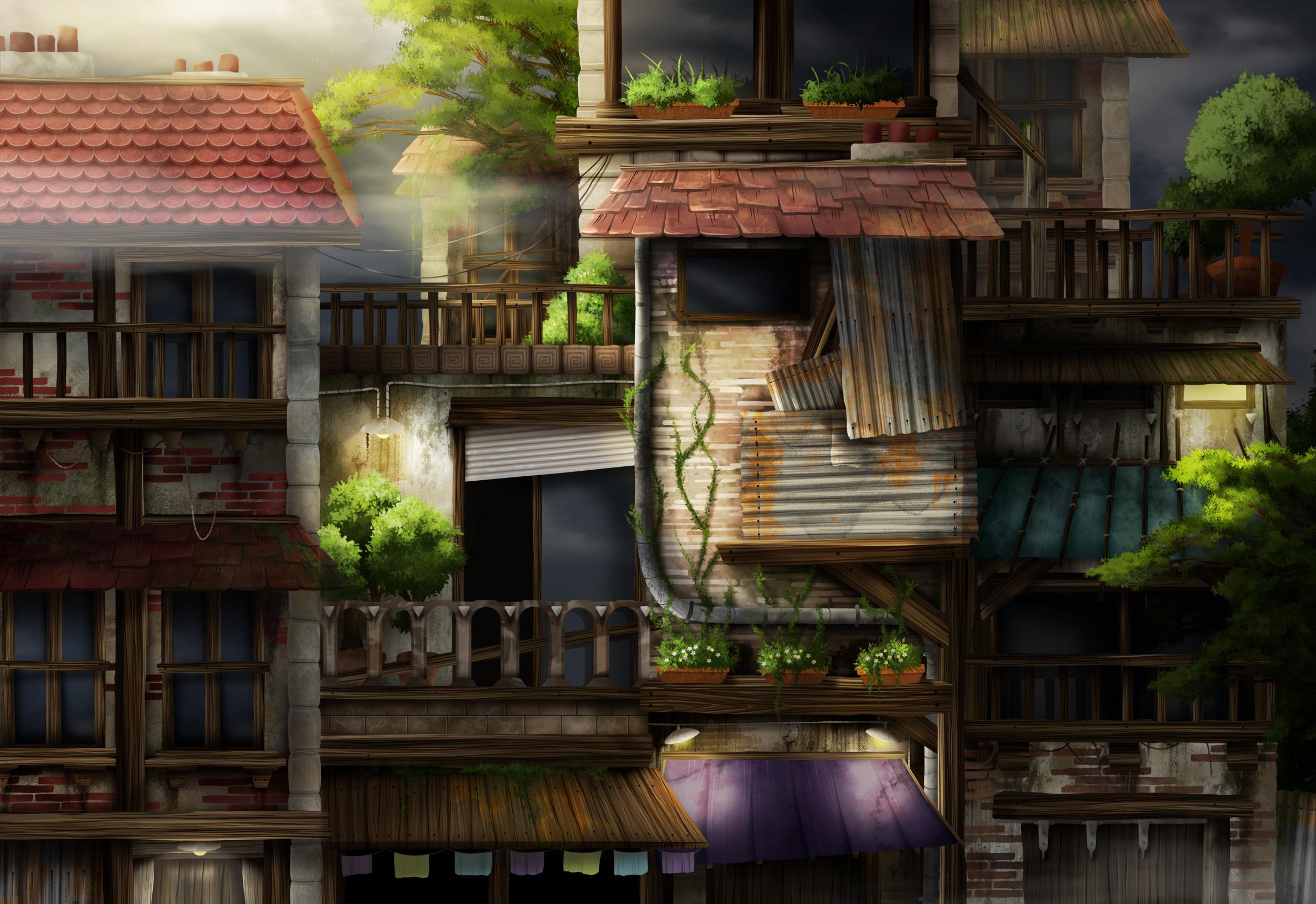environment design, rue vu de face, plusieurs immeubles collés, levé de soleil