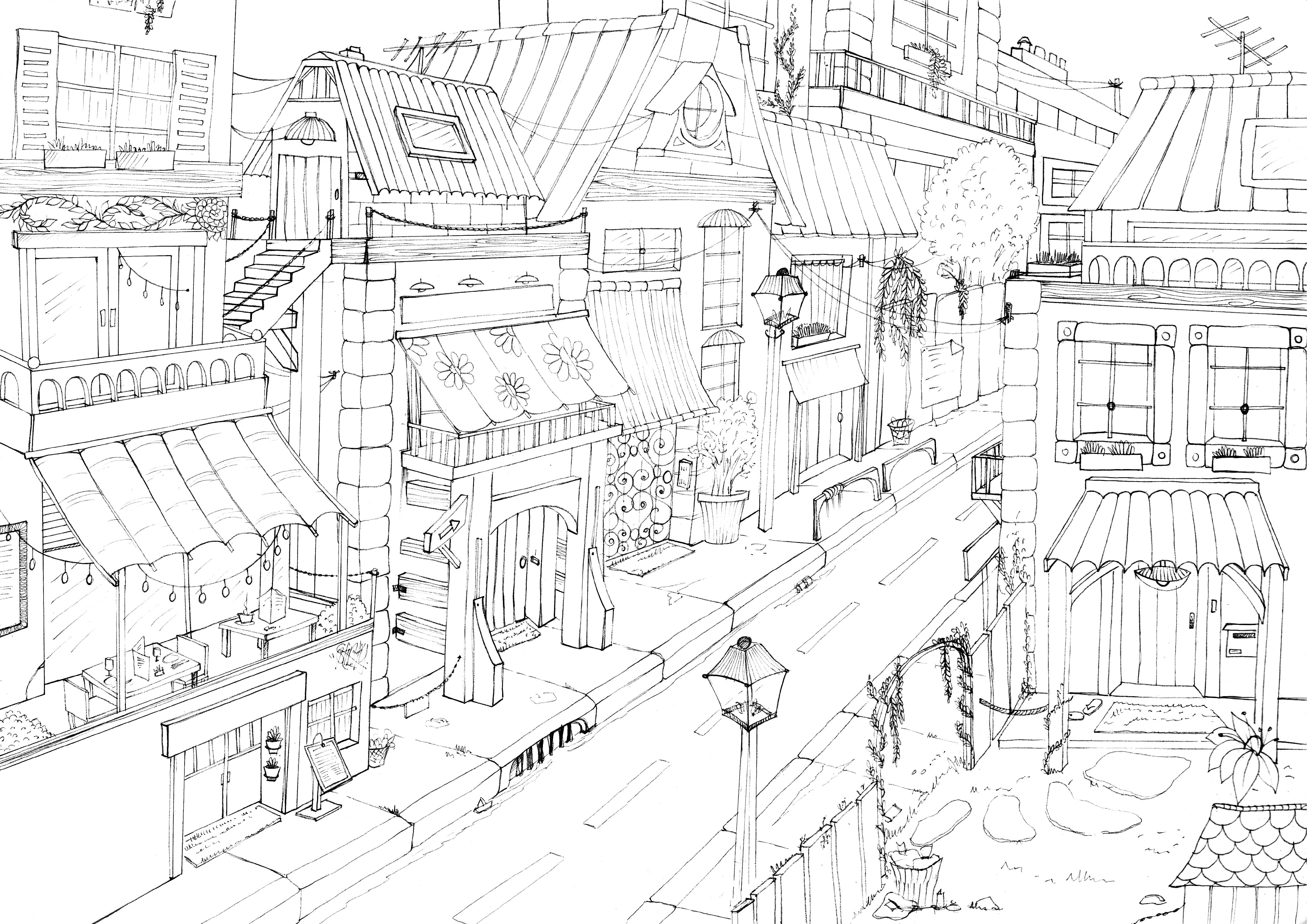 illustration, dessin rue d'une ville au stylo, noir& blanc