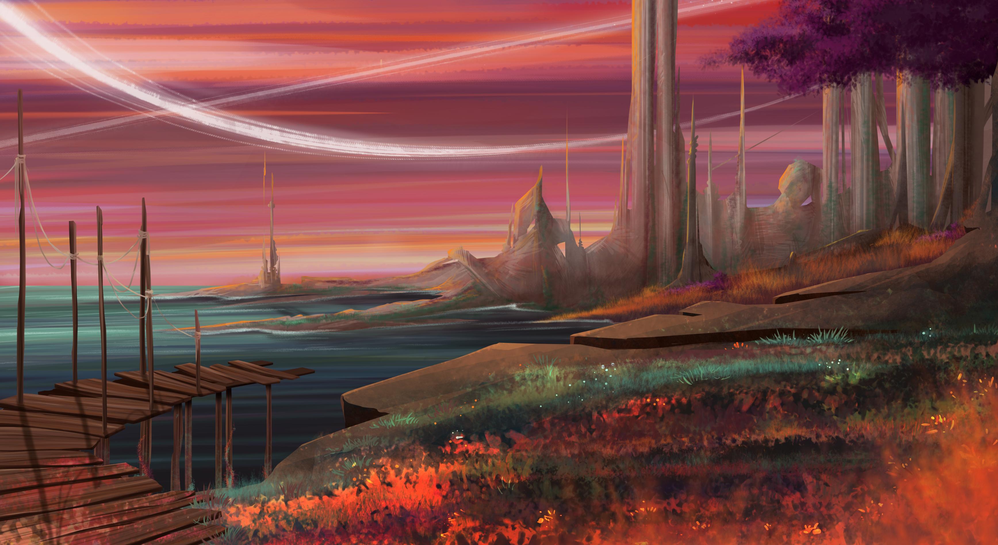 concept art, paysage ton de violet et de rose