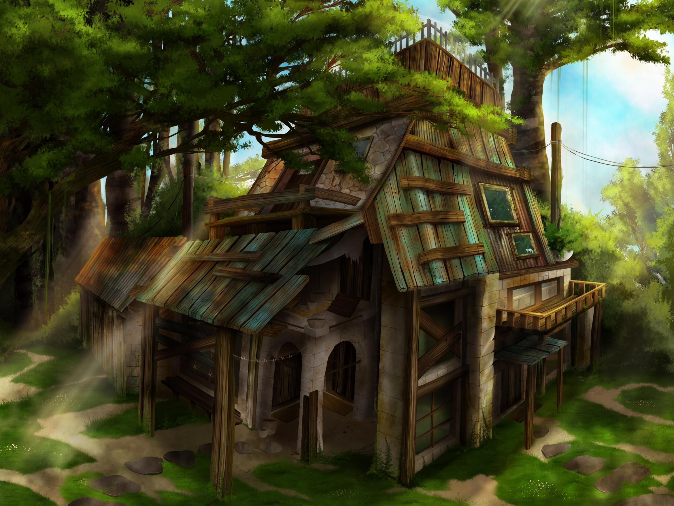 environment design, en foret avec une cabane, rayon de soleil