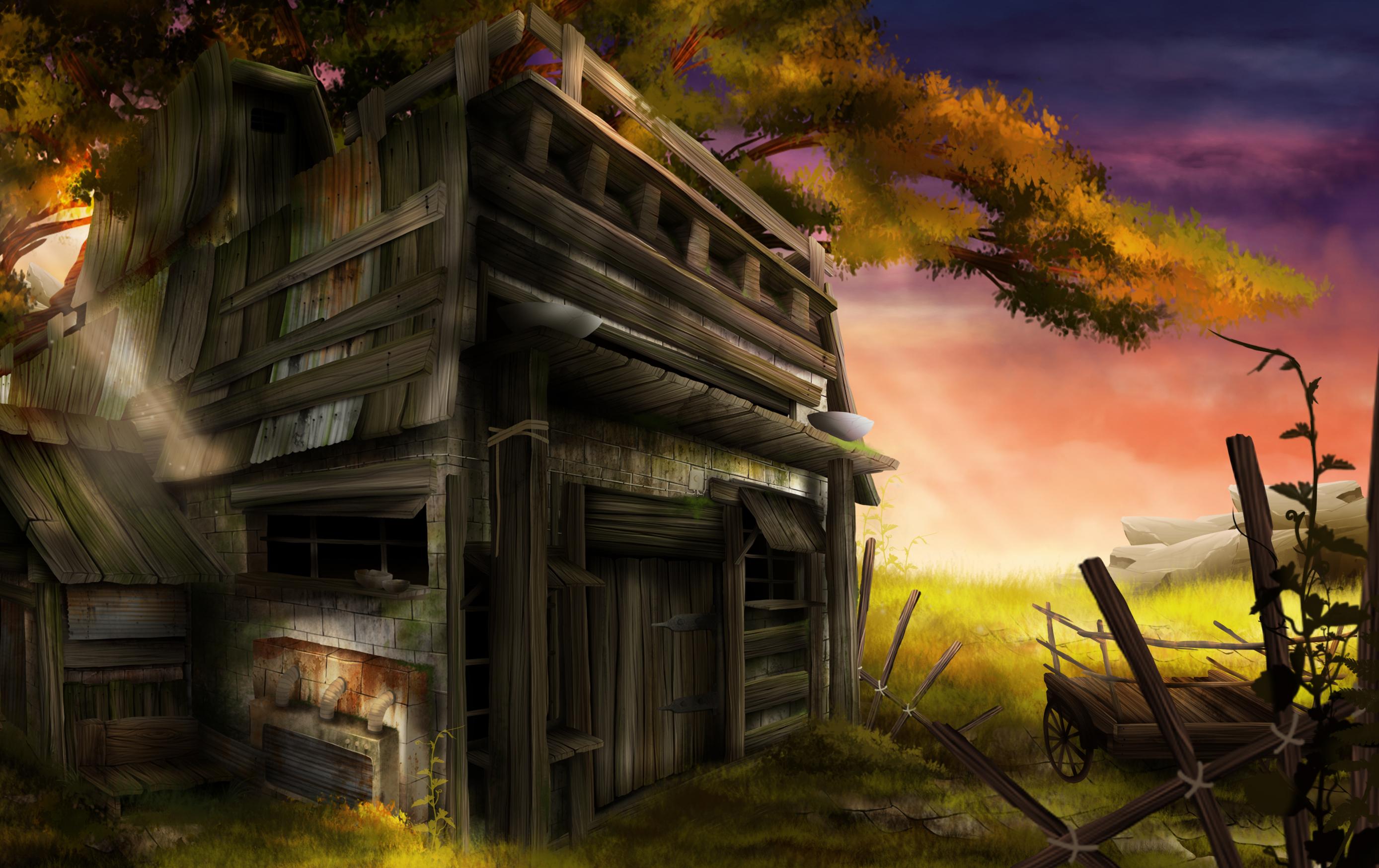 environment design, coucher de soleil, paysage de campagne avec une cabane et une charrue