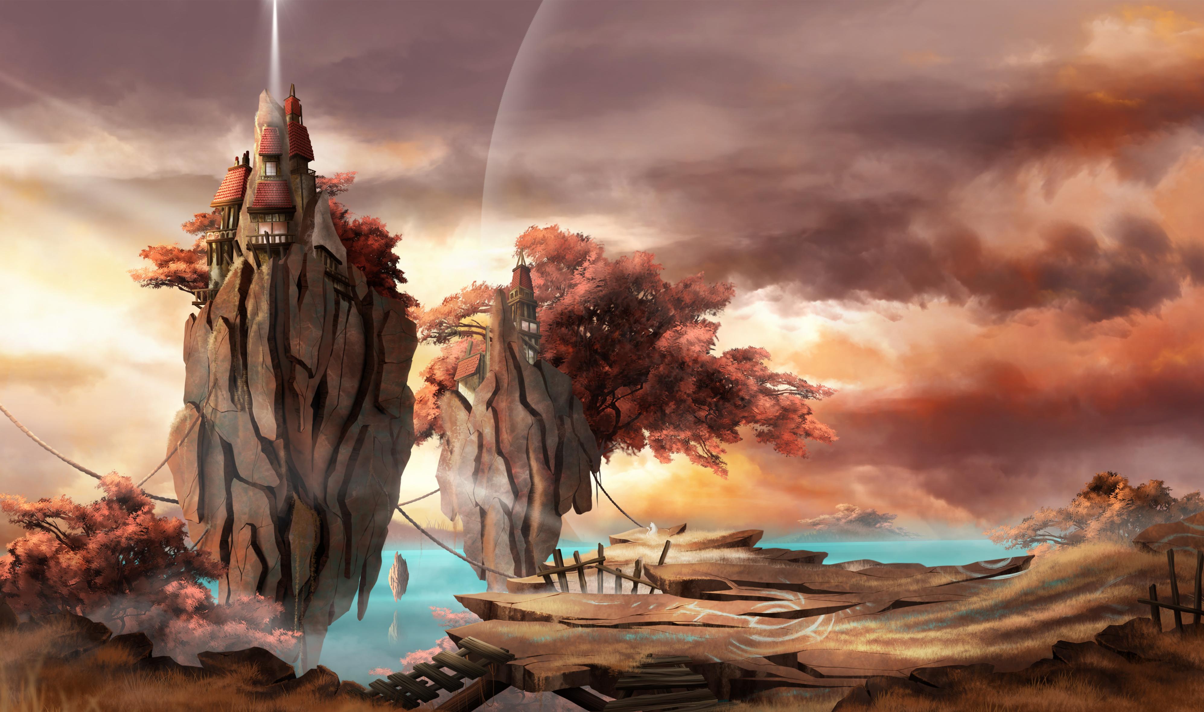 environment design, avec pierres flottantes et maisons, arbres rouge et couché de soleil.
