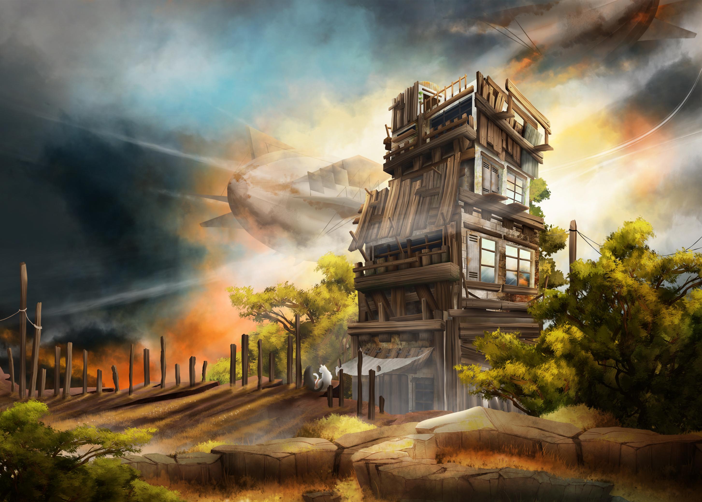 environment design, cabane et zepplin sur un coucher de soleil, paysage de campagne